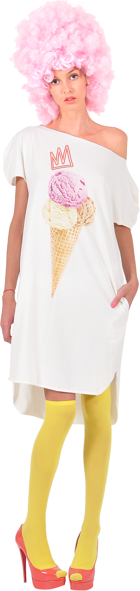 "Princely ""Royal IceCream"" long T-shirt in Whip Cream"