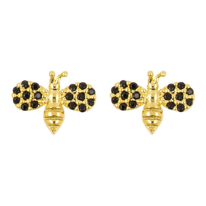 Earring Diamante Bee Black