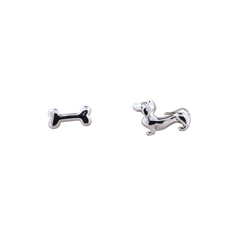 Earring Dog and Bone Bubble Silver