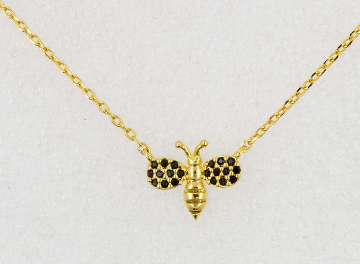 Necklace Diamante Bee Black