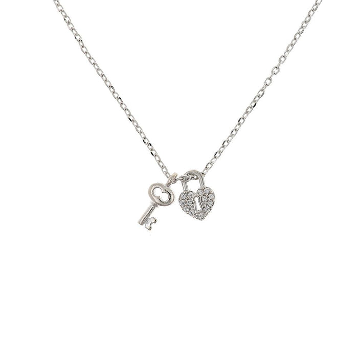 Necklace Lock and Key Silver