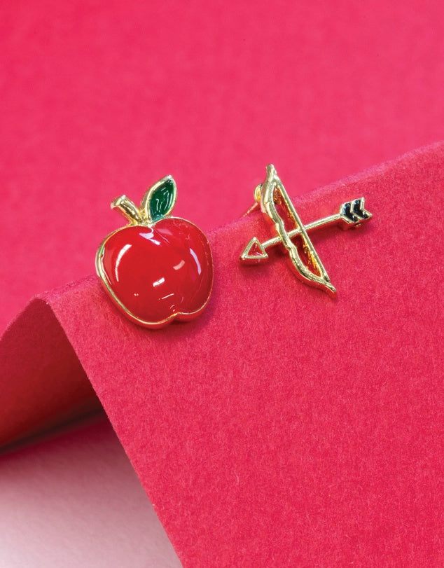 DISNEY EARRING EPOXY MULAN ARROW & APPLE