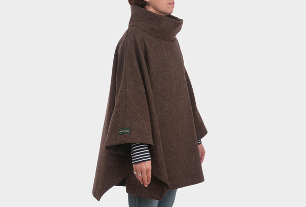 Brown Herringbone Painters Poncho