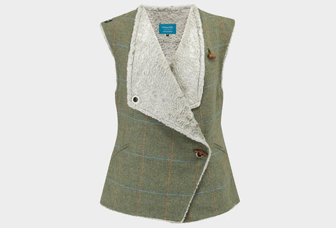 Finch Tweed and Faux Fur Gilet