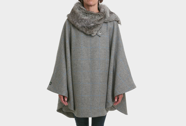 Slate Grey Fur Collar Poncho