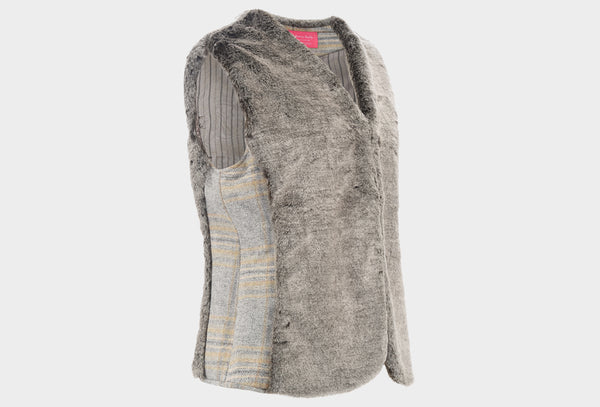Dove Grey Tweed and Faux Fur Gilet
