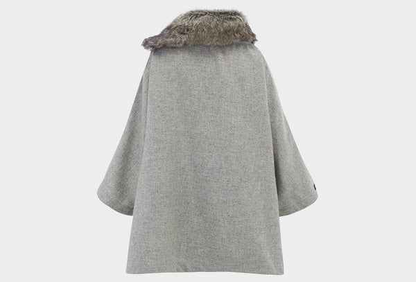 Dove Grey Fur Collar Poncho