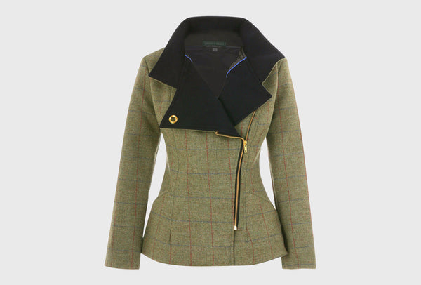 Heath Green Tweed Bomber Jacket