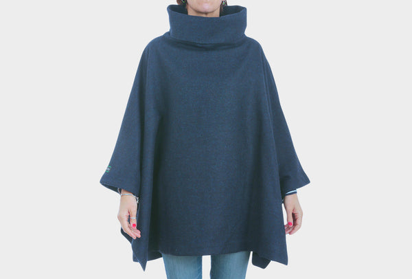 Navy Wool Painters Poncho