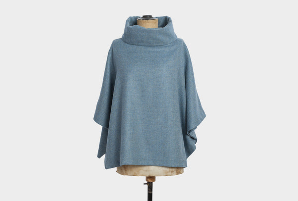 Sea blue blanket poncho