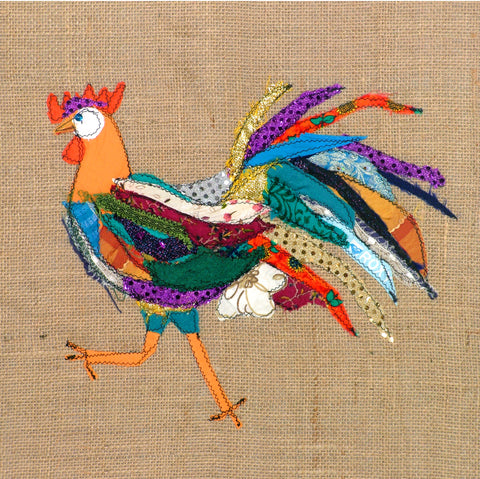 "Original Chicken Art on Hessian by Lady Jane Gray - Humorous Chickens ""All Dressed Up"""