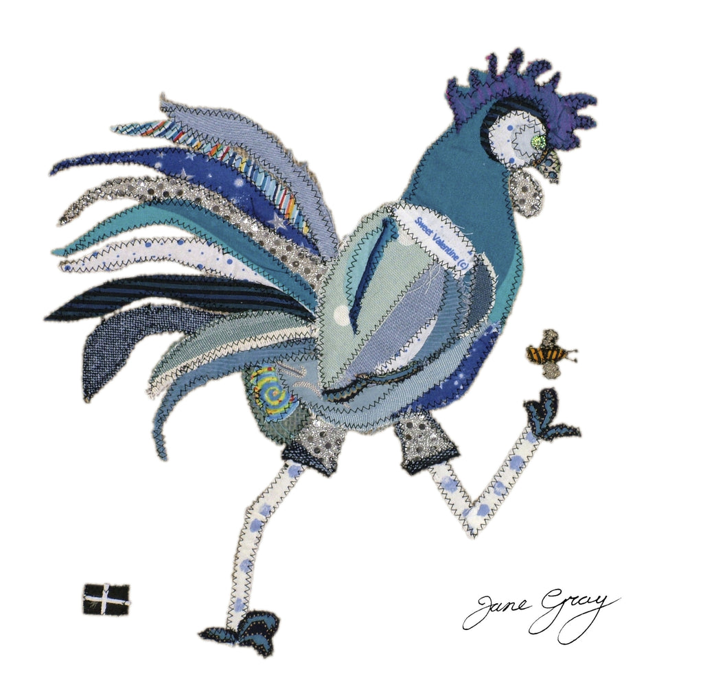 "Greetings Card (008) by Lady Jane Gray - Humorous Blue Chicken ""Rodney"" on white background"