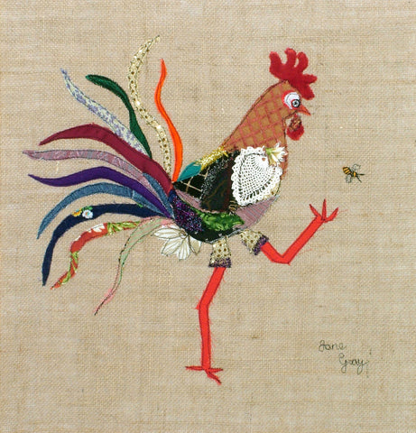 "Original Chicken Art on Hessian by Lady Jane Gray - Humorous Chickens ""Charlotte"""