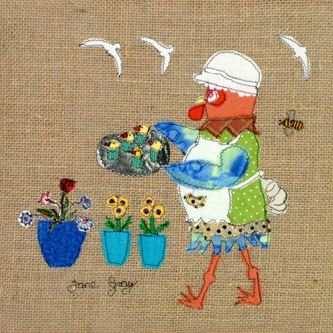 "Original Chicken Art on Hessian by Lady Jane Gray - Humorous Chickens ""Cluck Cakes"""