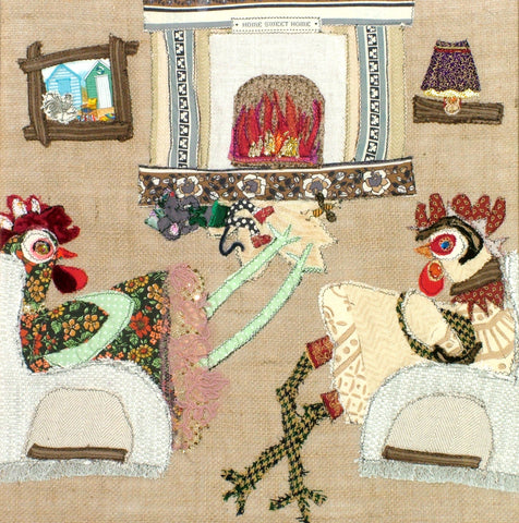 "Original Chicken Art on Hessian by Lady Jane Gray - Humorous Chickens ""Cornish Bliss"""