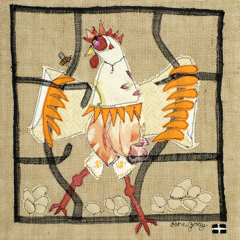 "Original Chicken Art on Hessian by Lady Jane Gray - Humorous Chickens ""Free as a Bird"" - SOLD"