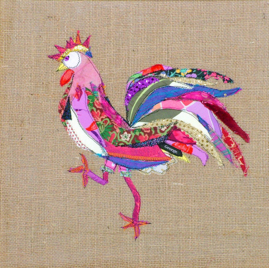 "Original Chicken Art on Hessian by Lady Jane Gray - Humorous Chickens ""George Rules the Roost"""