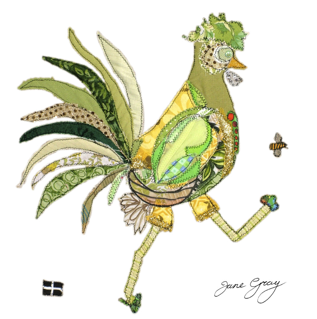 "Greetings Card (016) by Lady Jane Gray - Humorous Lime-Green Chicken ""Neil"" on white background"