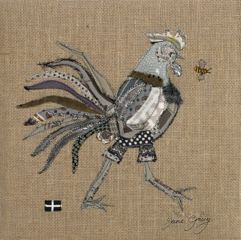 "Greetings Card (001) by Lady Jane Gray - Humorous Grey Chicken ""Sally"" on hessian background"