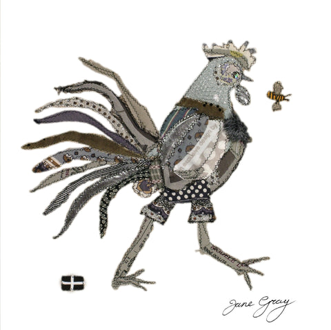 "Greetings Card (002) by Lady Jane Gray - Humorous Grey Chicken ""Sally"" on white background"