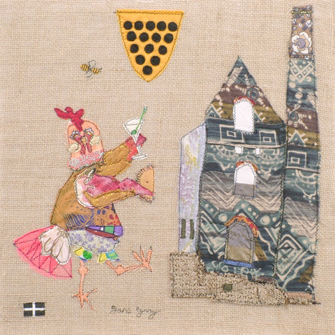 "Original Textile Art on Hessian by Lady Jane Gray -  ""Hen - Gin - House"""