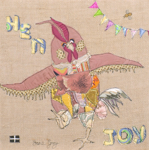 "Original Textile Art on Hessian by Lady Jane Gray -  ""Hen Joy"""