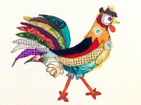 "Original Chicken Art on Calico by Lady Jane Gray - Humorous Chickens ""Hippy Chick"""