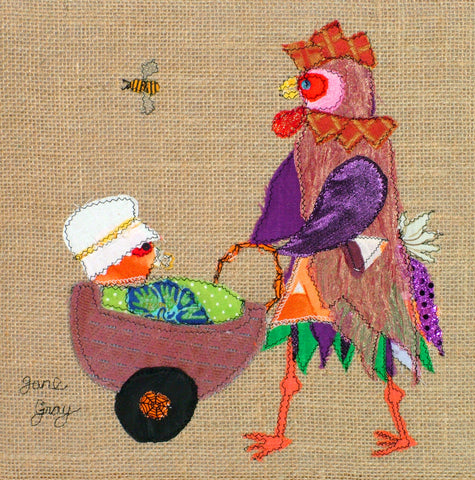 "Original Chicken Art on Hessian by Lady Jane Gray - Humorous Chickens ""Just Hatched"""