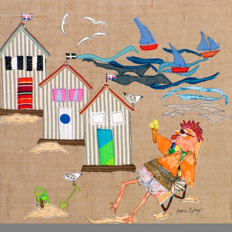 "Original Chicken Art on Hessian by Lady Jane Gray - Humorous Chickens ""Lifes A Beach"""