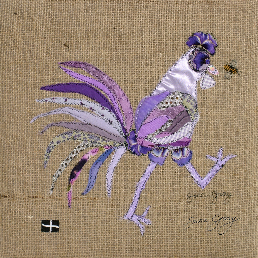"Greetings Card (011) by Lady Jane Gray - Humorous Lilac Chicken ""Lizzie"" on hessian background"