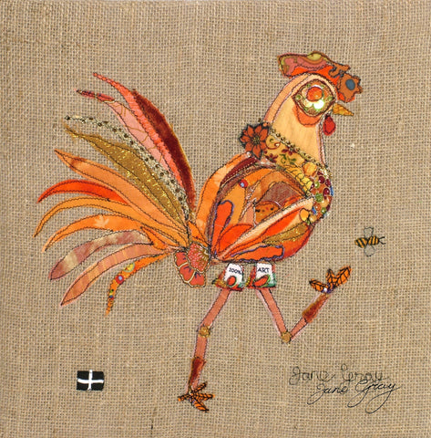 "Greetings Card (003) by Lady Jane Gray - Humorous Orange Chicken ""Judy"" on hessian background"