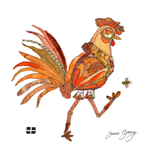 "Greetings Card (004) by Lady Jane Gray - Humorous Orange Chicken ""Judy"" on white background"