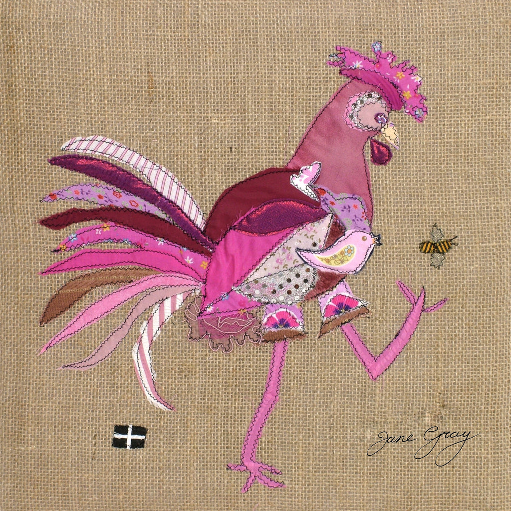 "Greetings Card (013) by Lady Jane Gray - Humorous Pink Chicken ""Yvie"" on hessian background"