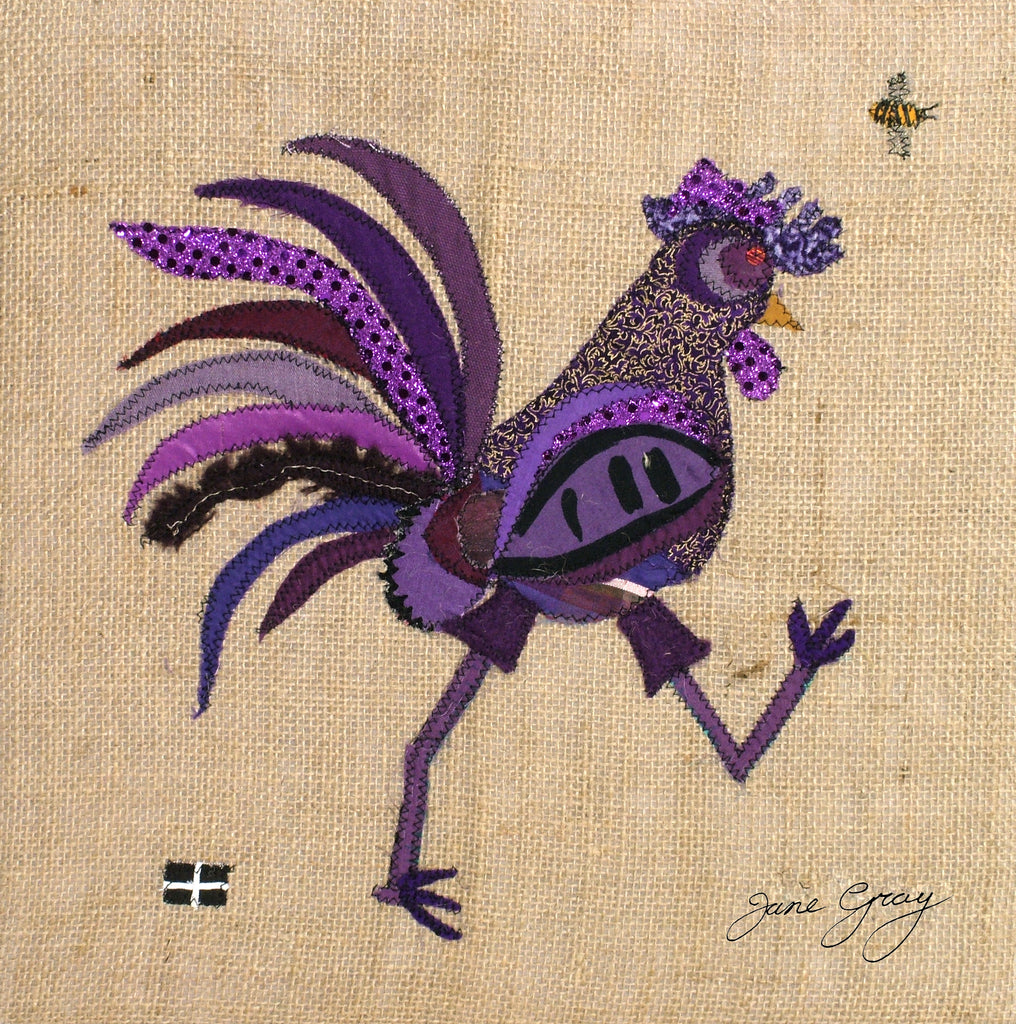 "Greetings Card (009) by Lady Jane Gray - Humorous Purple Chicken ""Ina"" on hessian background"