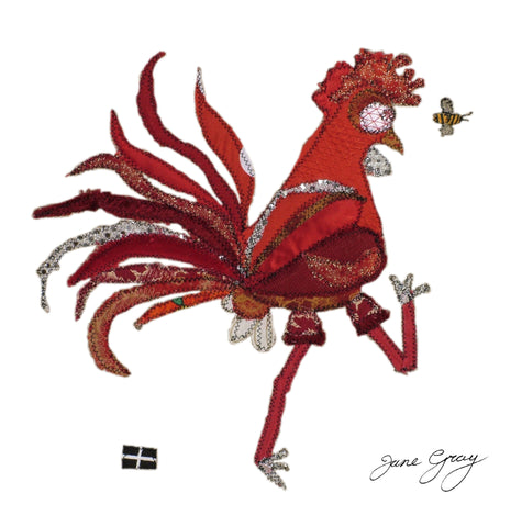 "Greetings Card (006) by Lady Jane Gray - Humorous Red Chicken ""Claire"" on white background"