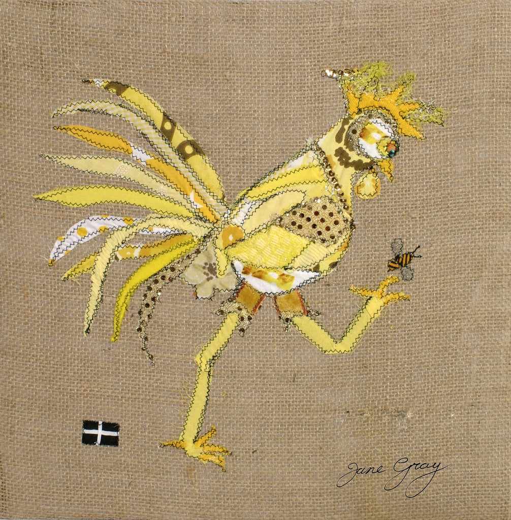 "Greetings Card (017) by Lady Jane Gray - Humorous Yellow Chicken ""Tina"" on hessian background"