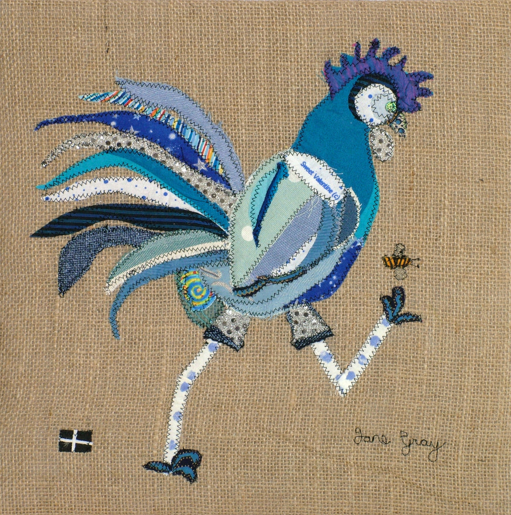 "Greetings Card (007) by Lady Jane Gray - Humorous Blue Chicken ""Rodney"" on hessian background"