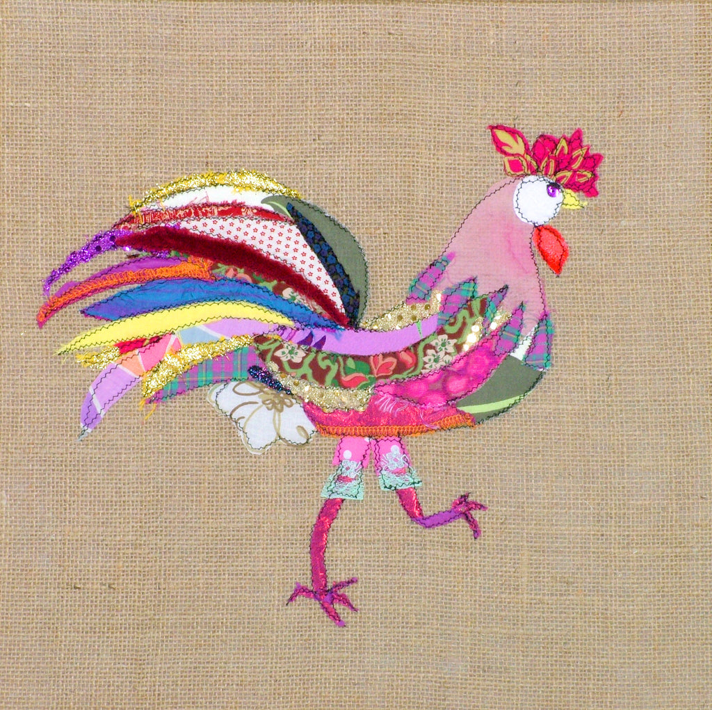 "Original Chicken Art on Calico by Lady Jane Gray - Humorous Chickens ""By George, I'm Fabulous!"""