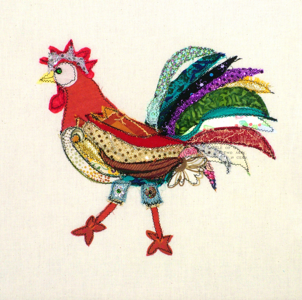"Original Chicken Art on Calico by Lady Jane Gray - Humorous Chickens ""Flower Power"""