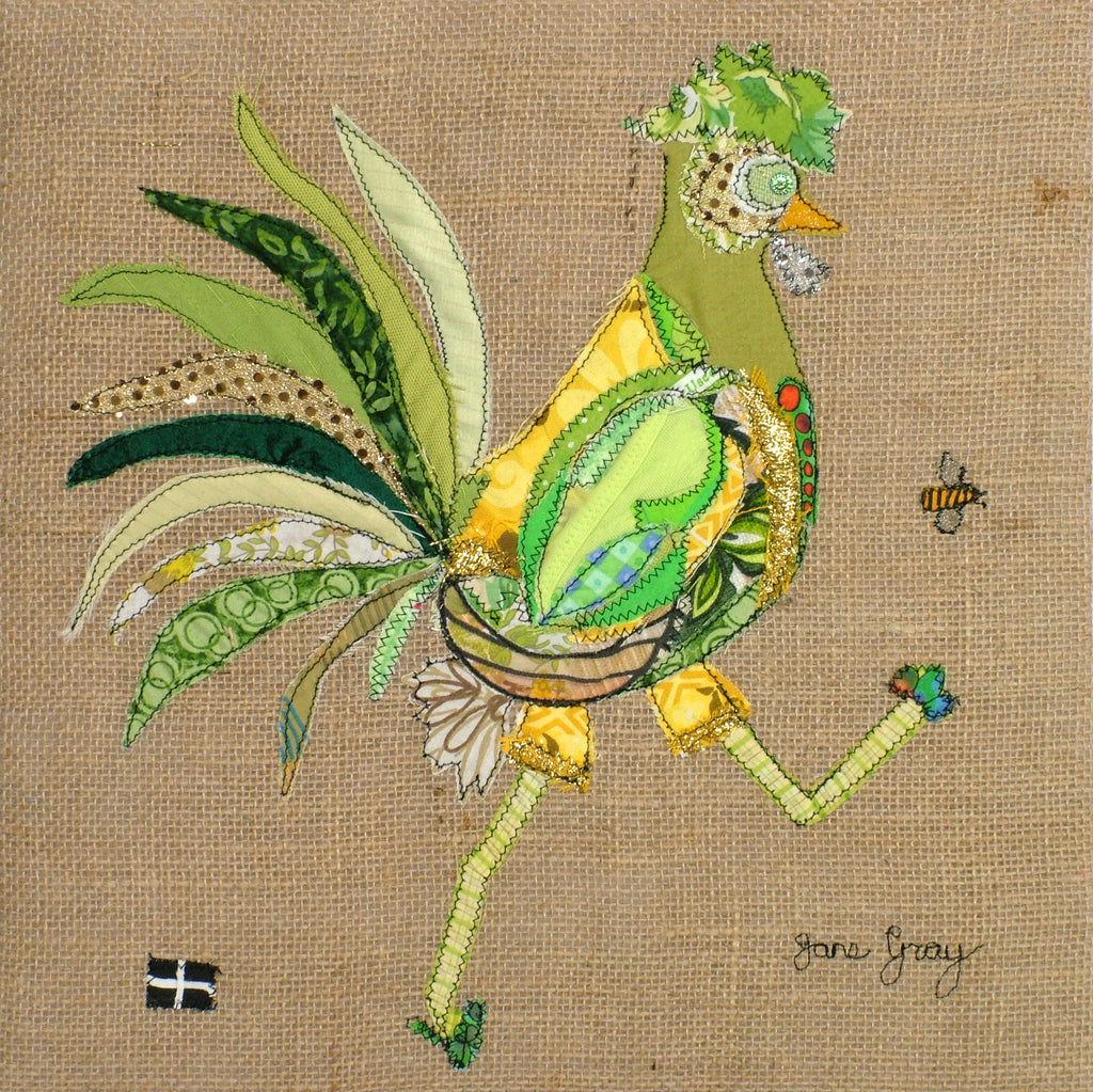 "Greetings Card (015) by Lady Jane Gray - Humorous Lime-Green Chicken ""Neil"" on hessian background"