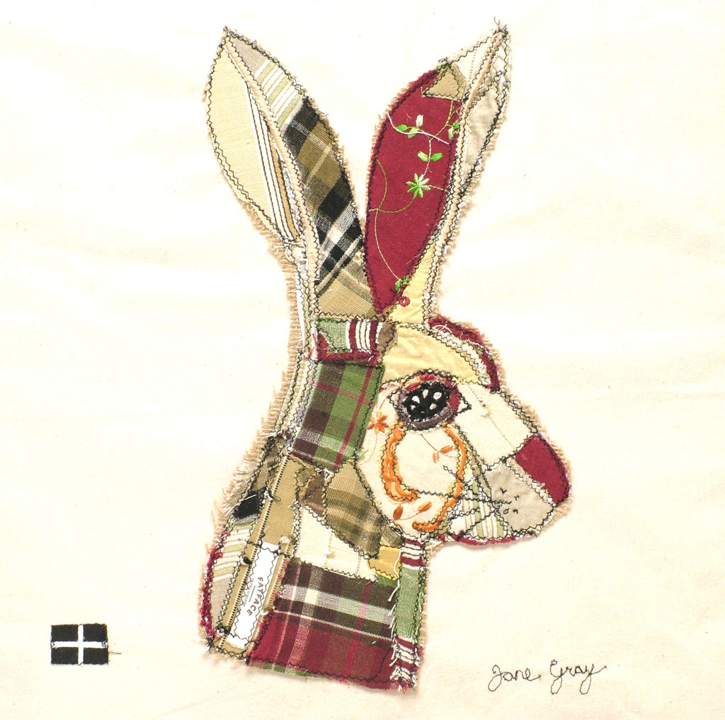 "Original Textile Art on Calico by Lady Jane Gray - ""The Hare"""