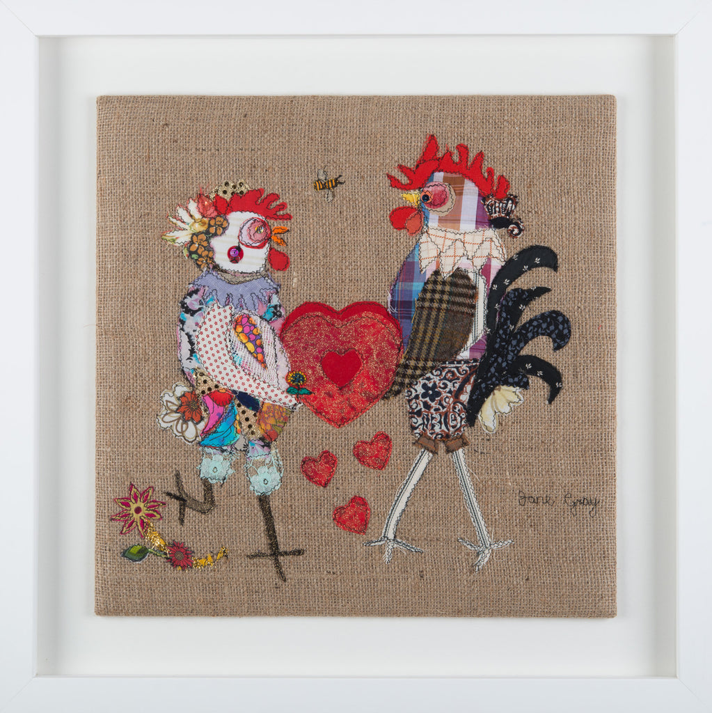 "Original Chicken Art on Hessian by Lady Jane Gray - Humorous Chickens ""RooDoodles & HennyHoo - Love You"""