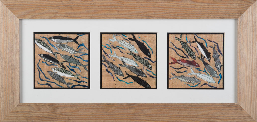 Framed Triptych Giclee Print 006 - 'Fish' (landscape format)