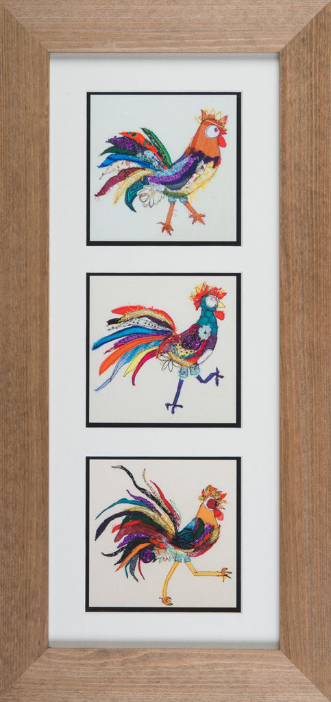 Framed Triptych Giclee Print 001 - 'Rosy Posy, Drama Queen and Off to Party' (portrait format)