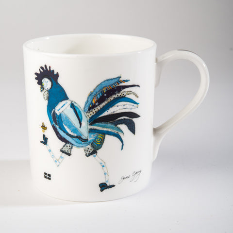 "Limited  Edition China Mug (003) by Lady Jane Gray - Humorous Blue Chicken ""Rodney"""