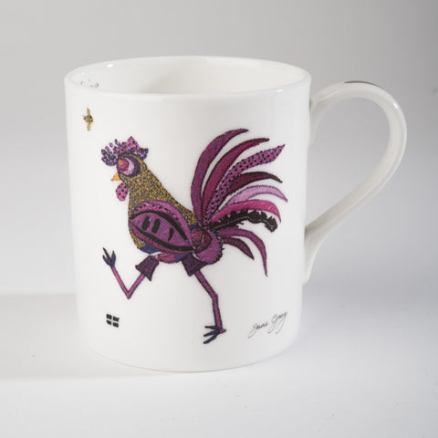 "Limited  Edition China Mug (002) by Lady Jane Gray - Humorous Purple Chicken ""Ina"""
