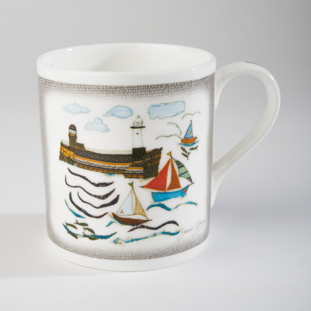 "Limited  Edition China Mug (010) by Lady Jane Gray - St Ives ""Smeatons Pier"""
