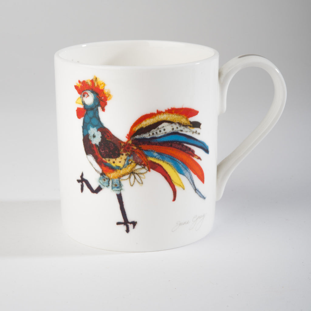 "Limited  Edition China Mug (013) by Lady Jane Gray - Humorous Chicken ""Off to Party"""
