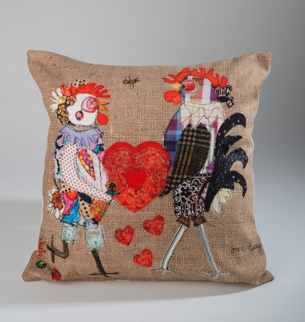 "Limited  Edition Designer Cushion (004) by Lady Jane Gray - Humorous Chicken ""RooDoodles & HennyHoo LoveYou"""