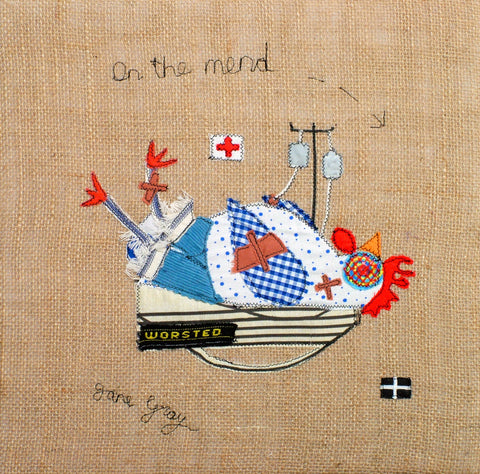 "Original Chicken Art on Hessian by Lady Jane Gray - Humorous Chickens ""On the Mend"""